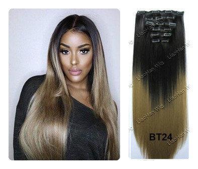 Волосы трессы ТЕРМо на заколках набор из 8 прядей 60см №1в/24 омбре черный пепельный светло-русый