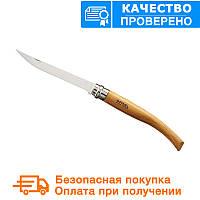 Складной филейный нож с деревянной ручкой Opinel Slim Beechwood No.10 (000517)