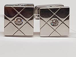 Серебряные запонки с фианитами. Артикул 907-00117