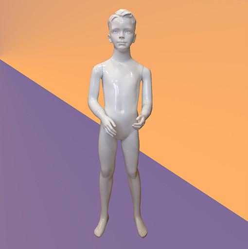 Манекен детский белый глянцевый - мальчик (стекловолокно, 128 см)