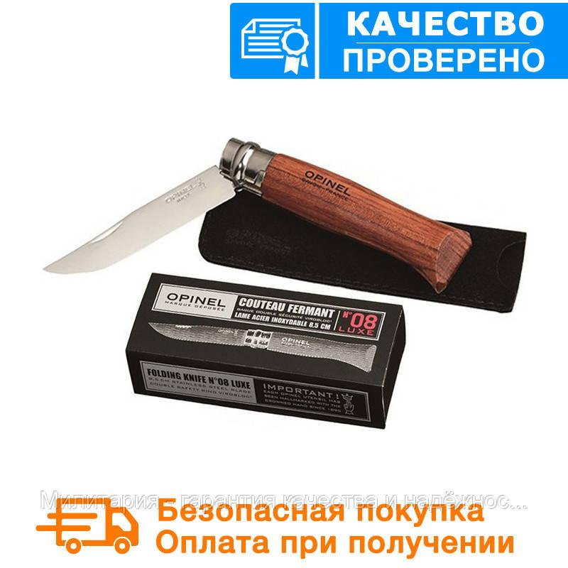 Нож Opinel Inox Lux Bubinga box No.08 226086 (нож+чехол упаковка коробка)