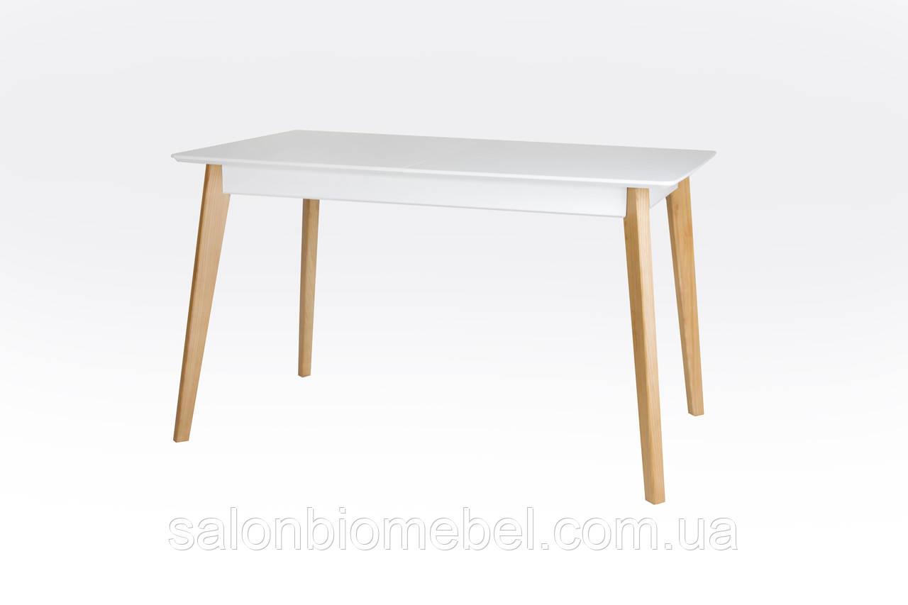 Стол обеденный деревянный раскладной Сингл белый/дуб