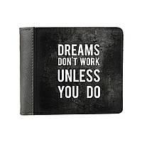 """Кошелек экокожа / кошелек унисекс / дизайнерский кошелек """"Мечты не работают, пока не работаешь ты"""""""