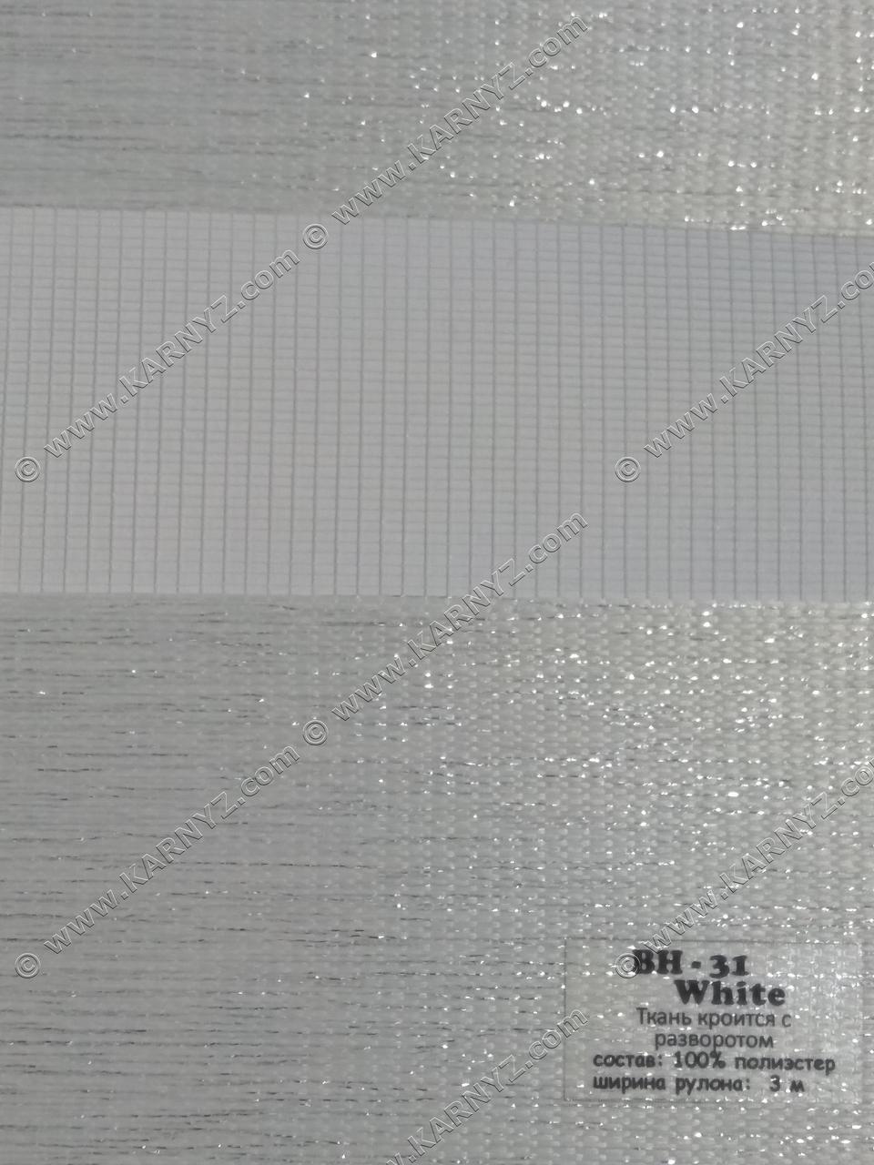 Рулонные шторы День-Ночь ВН-31 белый блеск