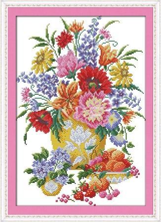 Цветы и ягоды H313 Набор для вышивки крестом с печатью на ткани 14ст