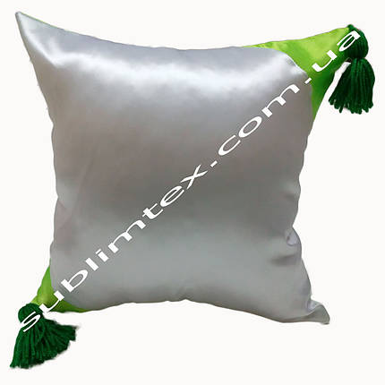 Подушка атласная,искусственная,цветная сторона+цветные уголки+кисточка,размер 35х35см., салатовый, фото 2