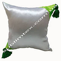 Подушка атласная,искусственная,цветная сторона+цветные уголки+кисточка,размер 35х35см., салатовый