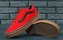 Мужские кеды Vans Old Skool Red красные с черной полосой топ реплика, фото 2