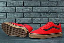 Мужские кеды Vans Old Skool Red красные с черной полосой топ реплика, фото 3