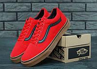 Мужские кеды Vans Old Skool Red красные с черной полосой топ реплика
