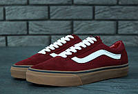 Кеды женские Vans Old Skool Maroon Gum бордовые топ реплика