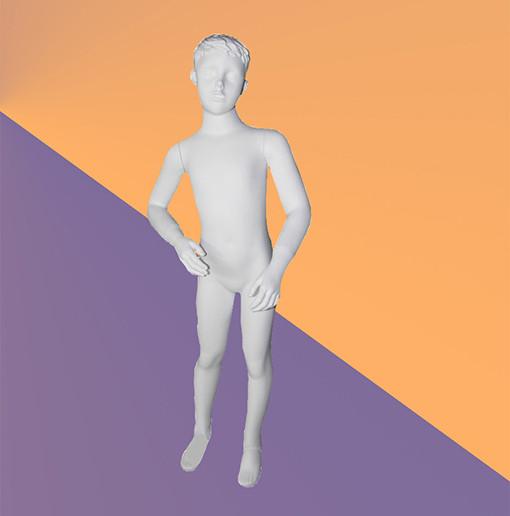 Манекен детский белый матовый - мальчик (стекловолокно, 113 см)