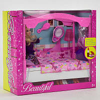 Кукла с мебелью Beautiful для девочек. Детская куколка, игровой набор
