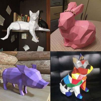 Полигональные модели, скульптуры из бумаги в подарочной упаковке
