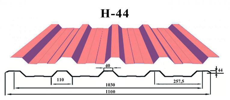 Профнастил c полимерным покрытием Н-44 0.4 мм