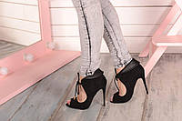 Туфли черные с открытым носиком код 19550