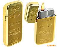 """Зажигалка газ """"Слиток золота"""" прямоугольная плоская 6,5х1х3,1 см (Турбо пламя) №4438"""