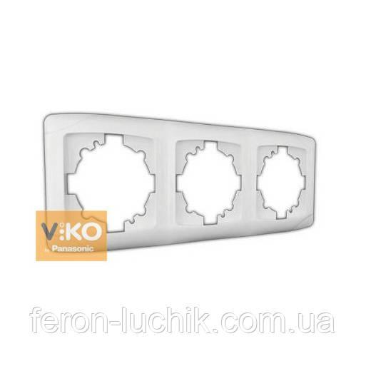 Рамка 3-я біла ViKO Carmen горизонтальна, вертикальна