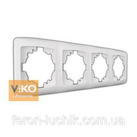 Рамка 4-я белая ViKO Carmen горизонтальная, вертикальная