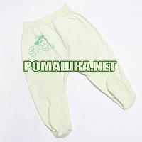 Ползунки (штанишки) на широкой резинке р. 68 ткань КУЛИР 100% тонкий хлопок ТМ Алекс 3166 Зеленый Б