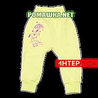 Штанишки на широкой резинке р. 56 демисезонные ткань ИНТЕРЛОК 100% хлопок ТМ Алекс 3297 Желтый Б