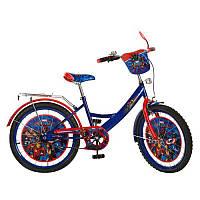 Велосипед детский мульт 20д. MH202 МГ,сине-красный,зеркало,звонок