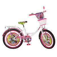 Велосипед детский мульт 20д. MI206B DM,бело-малин,зеркало,звонок,корзина