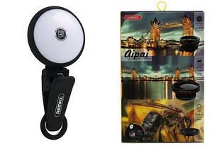 Насадка fish-eye с LED-фонариком для смартфонов Remax Aipai 3в1 Черный