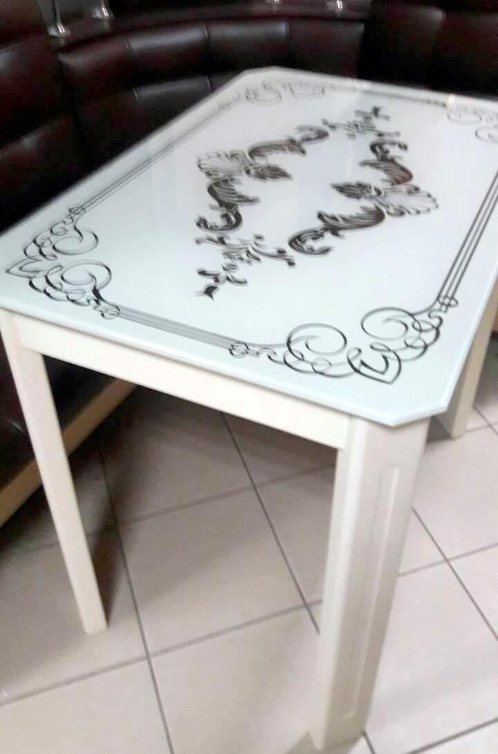 Стеклянный стол для кухни с рисунком ДКС Модерн зеркало Антоник, цвет на выбор