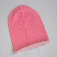 Детская шапка бини. Розовый с люрексом. Размеры: 44-46, 46-48, 54-56 см