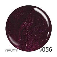 Декоративный лак Naomi 056 (бордово-лиловый с блёстками), 12 мл