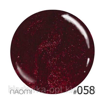 Декоративный лак Naomi  058 (бордово-малиновый с мелкими блёстками), 12 мл, фото 2