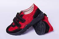 Кожаные кеды для подростков на липучке, обувь детская от производителя модель ДЖ3734