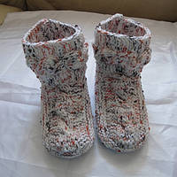 Зимние шерстяные носки-сапожки детские ручная работа 14см