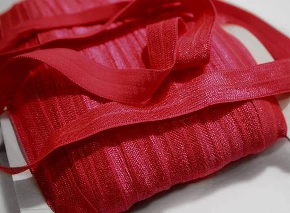 Косая бейка трикотажная (стрейчевая) красная, 1,5см., 45м., фото 2