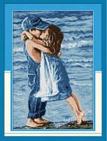 Влюбленные на берегу R005 Набор для вышивки крестом с печатью на ткани 14ст