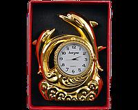 Зажигалка подарочная с часами Дельфины (Золото) №4373
