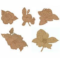 Заготовка для декорирования Rosa Talent (ДВП) набор 5шт Цветы 2809015