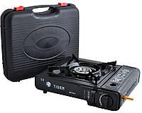 Портативная газовая плита двойного действия с адаптером в кейсе TIGER №66-1