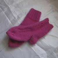 Зимние шерстяные носки с косами детские ручная работа 14см