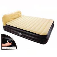 Велюр кровать 67483 встроенный насос , спинка, дорожная сумка 226-152-74см