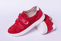 Кеды подростковые на липучке, кожаная детская обувь от производителя модель ДЖ7010