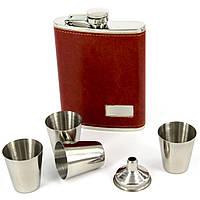 Набор с флягой для алкоголя красно-коричневая T013-4