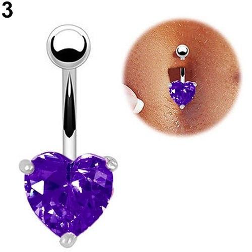 Пирсинг, сережка для пупка, украшенная горным хрусталем в форме сердца, цвет серебро + фиолетовый камень