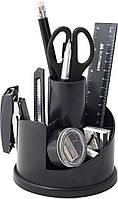 Офисный набор настольный, пластиковый, 13 предметов, черный, Buromax, BM.6304-01, 370097