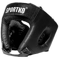 Шлем НАТУРАЛЬНАЯ КОЖА боксёрский для единоборств ММА арт. ОК1 черный L