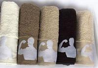 Махровые полотенца лицевые эксклюзивные фитнес для настоящих мужчин! 50х90 см.,ц. Молочный