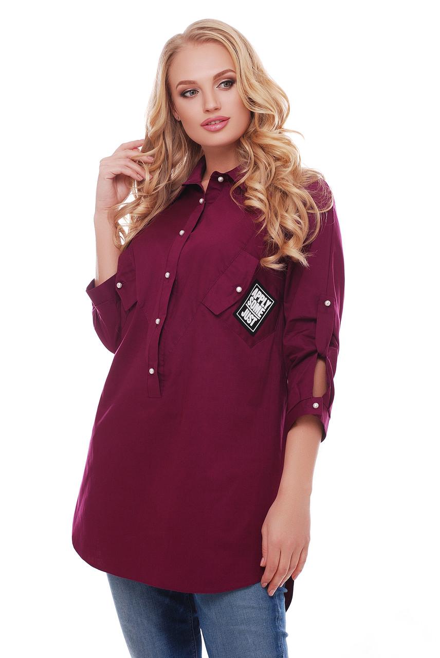 Рубашка женская Стиль 1146 винного цвета