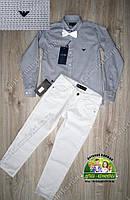 Стильный комплект для мальчика серая рубашка Armani и белые брюки