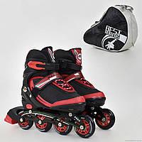 """Ролики 9002 """"М"""" Best Rollers цвет-КРАСНЫЙ /размер 35-38/ (6) колёса PU, без света, в сумке, d=7 см"""